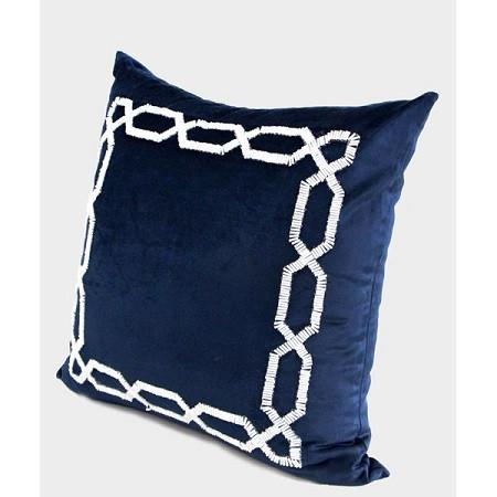 "Blue Handmade Textured Frame Beaded Pillow 20""X20"""