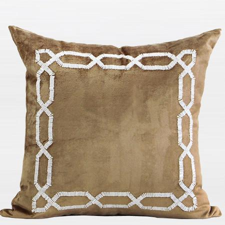 "Gold Handmde Textured Frame Beaded Pillow 20""X20"" - Gentille Home Collection - 1"