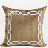 Gold Handmde Textured Frame Beaded Pillow 20