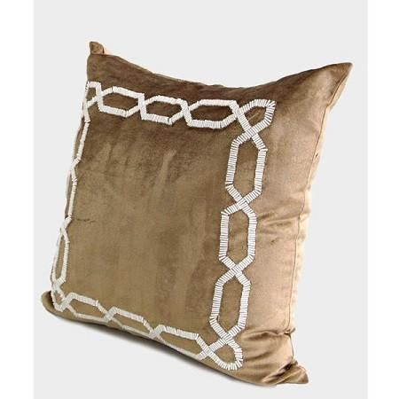 "Gold Handmde Textured Frame Beaded Pillow 20""X20"" - G Home Collection"
