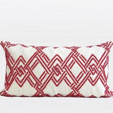 Red Handmade Textured Check Beaded Pillow 12