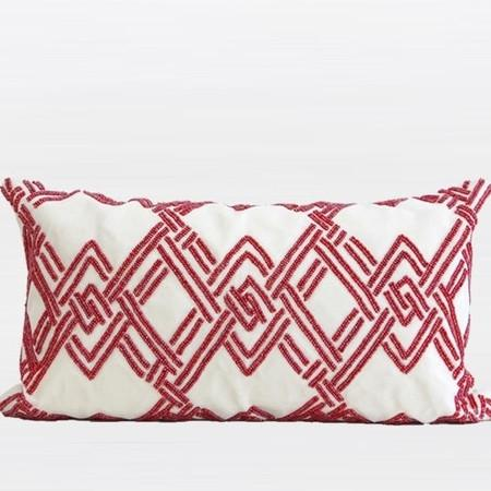 "Red Handmade Textured Check Beaded Pillow 12""X22"""