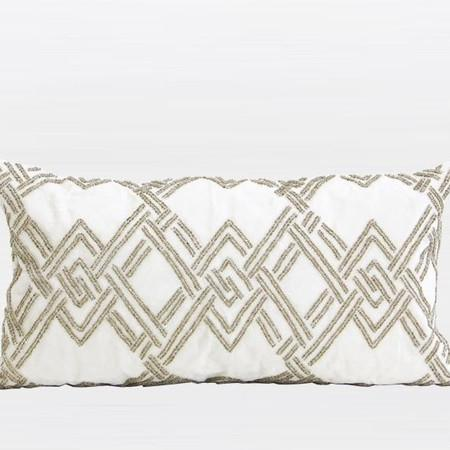 "Gold Handmade Textured Check Beaded Pillow 12""X22"" - Gentille Home Collection - 1"