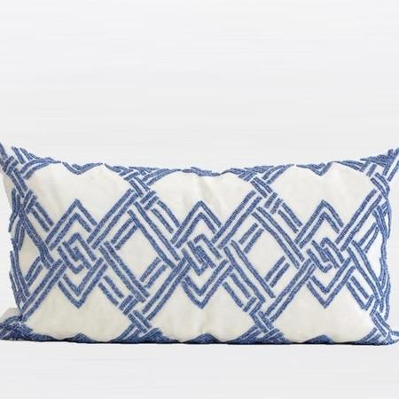 "Blue Handmade Textured Checkered Beaded Pillow 12""X22"" - G Home Collection"
