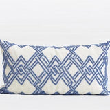 Blue Handmade Textured Checkered Beaded Pillow 12