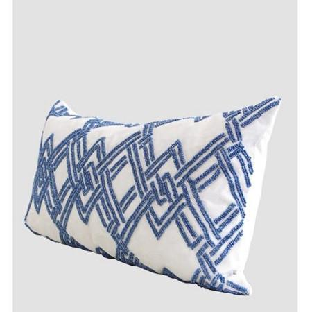 "Blue Handmade Textured Checkered Beaded Pillow 12""X22"""