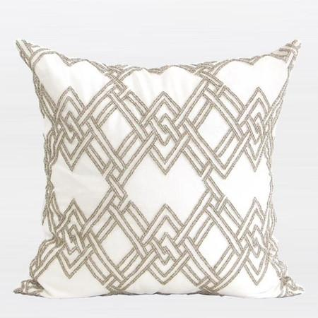 "Gold Handmade Textured Check Beaded Pillow 20""X20"" - Gentille Home Collection - 1"