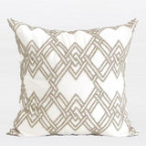 Gold Handmade Textured Check Beaded Pillow 20