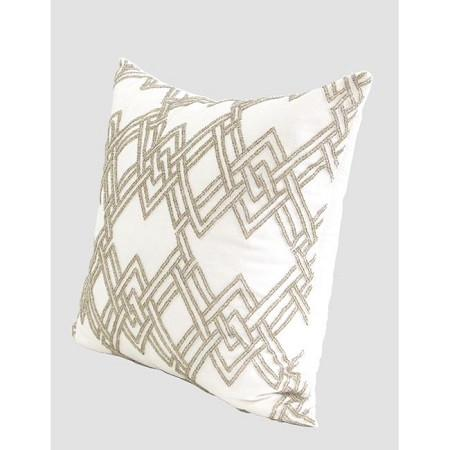 "Gold Handmade Textured Check Beaded Pillow 20""X20"" - G Home Collection"