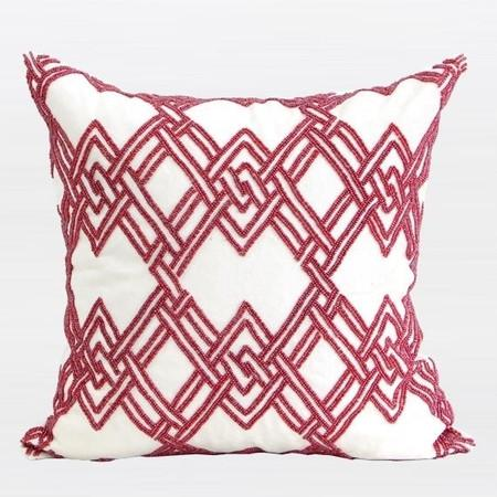 "Red Handmade Textured Check Beaded Pillow 20""X20"""