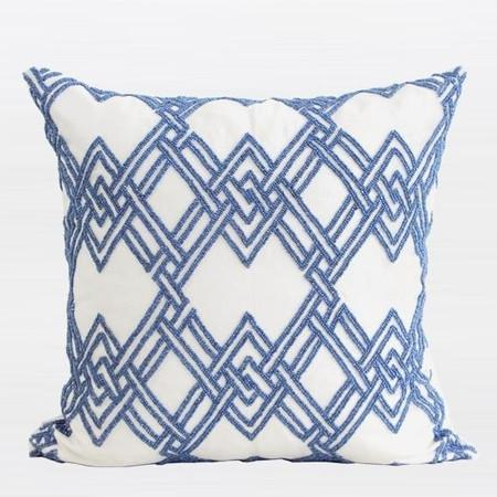 "Blue Handmade Textured Checkered Beaded Pillow 20""X20"" - G Home Collection"