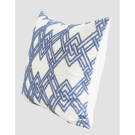"Blue Handmade Textured Checkered Beaded Pillow 20""X20"""