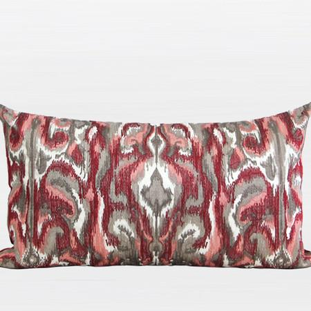 "Red European Classical Pattern Embroidered Pillow 12""X22"" - Gentille Home Collection - 1"