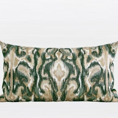 "Green European Classical Pattern Embroidered Pillow 12""X22"" - Gentille Home Collection - 1"