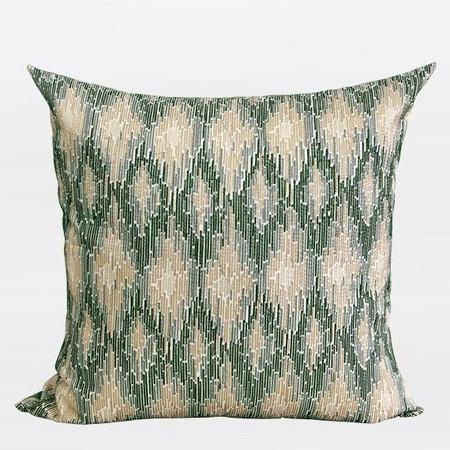 "Green European Classical Pattern Embroidered Pillow 20""X20"" - Gentille Home Collection - 1"