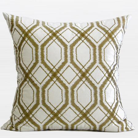 "Wasabi Green Geometry Pattern Embroidered Pillow 20""X20"" - Gentille Home Collection - 1"
