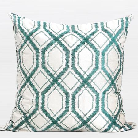 "Lack Blue Geometry Pattern Embroidered Pillow 20""X20"" - Gentille Home Collection - 1"