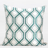 Lack Blue Geometry Pattern Embroidered Pillow 20