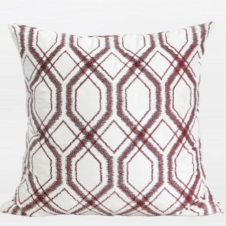 "Red Brown Geometry Pattern Embroidered Pillow 20""X20"" - Gentille Home Collection - 1"