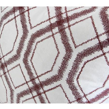 "Red Brown Geometry Pattern Embroidered Pillow 20""X20"" - G Home Collection"