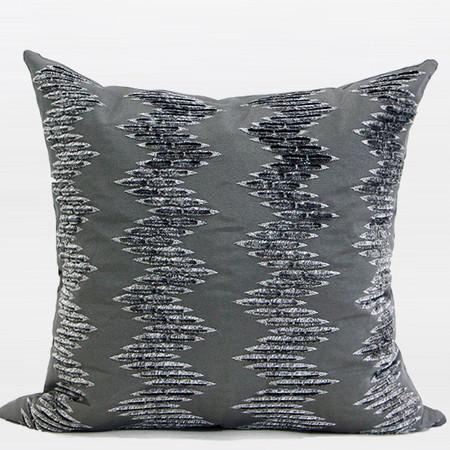 "Gray Chevron Pattern In Two Tone Textured Embroidered Pillow 18""X18"" - Gentille Home Collection - 1"