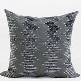 Gray Chevron Pattern In Two Tone Textured Embroidered Pillow 18