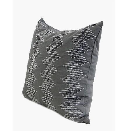 "Gray Chevron Pattern In Two Tone Textured Embroidered Pillow 18""X18"" - G Home Collection"