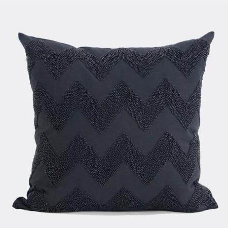 "Black Chevron Embroidered With Bead Pillow 18""X18"" - Gentille Home Collection - 1"