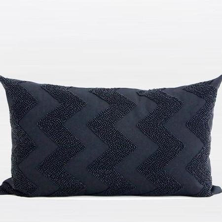 "Black Chevron Embroidered With Bead Pillow 12""X20"" - Gentille Home Collection - 1"