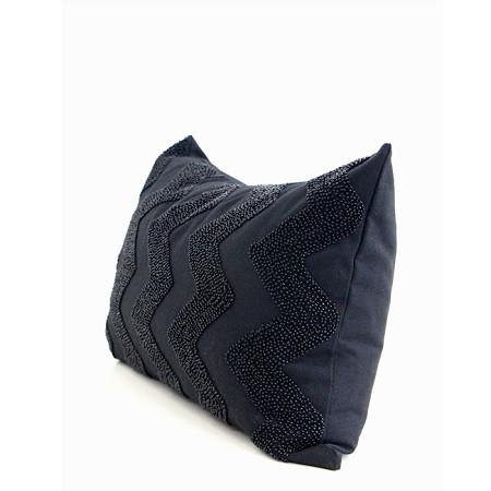 "Black Chevron Embroidered With Bead Pillow 12""X20"" - G Home Collection"