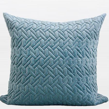 "Sky Blue Braid Textured Quilting Pillow 24""X24"""