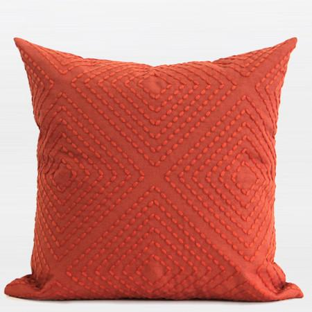 "Tangerine Diamond Embroidered Pillow 18""X18"" - Gentille Home Collection - 1"