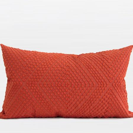"Tangerine Diamond Embroidered Pillow 12""X20"" - Gentille Home Collection - 1"