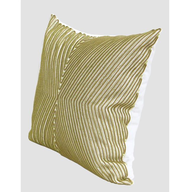 "Green Handmade X Shape Textured Beaded Pillow 20""X20"" - G Home Collection"
