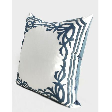 "Sky Blue European Frame Embroidered Pillow 22""X22"" - G Home Collection"