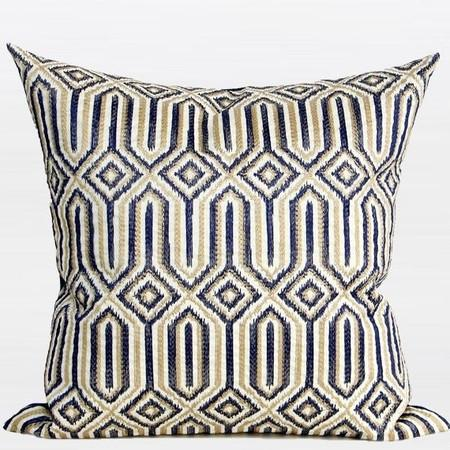 "Blue Classical Geometry Pattern Embroidered Pillow 20""X20"" - Gentille Home Collection - 1"