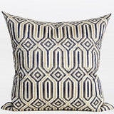 Blue Classical Geometry Pattern Embroidered Pillow 20