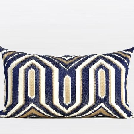 "Lack Blue Embroidered Modern Frame Textured Pillow 20""X20"""