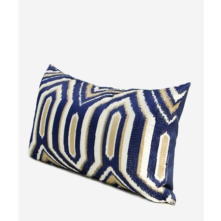 "Blue Classical Geometry Pattern Embroidered Pillow 12""X20"" - G Home Collection"