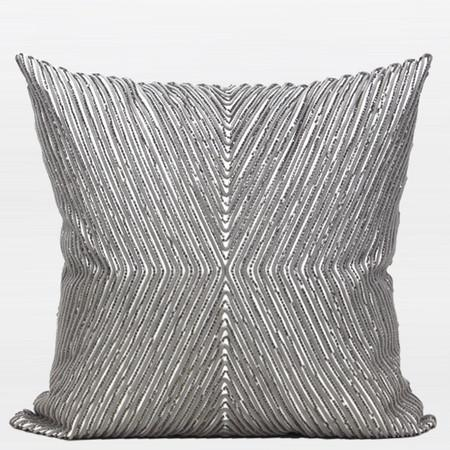 "Gray Handmade X Shape Textured Beaded Pillow 20""X20"" - Gentille Home Collection - 1"
