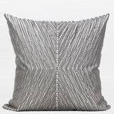 Gray Handmade X Shape Textured Beaded Pillow 20