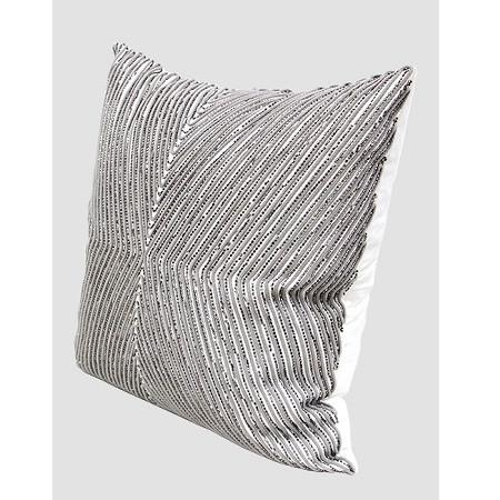 "Gray Handmade X Shape Textured Beaded Pillow 20""X20"" - G Home Collection"