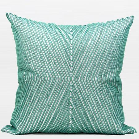 "Lack Blue Handmade X Shape Textured Beaded Pillow 20""X20"" - Gentille Home Collection - 1"
