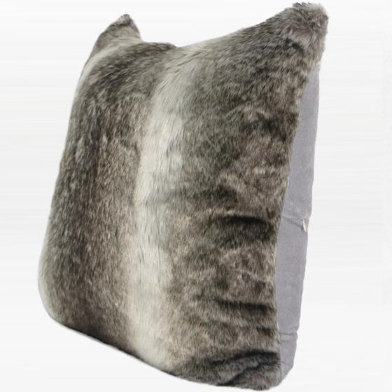 "Gradient Gray Faux Fur Pillow 20""X20"" - G Home Collection"