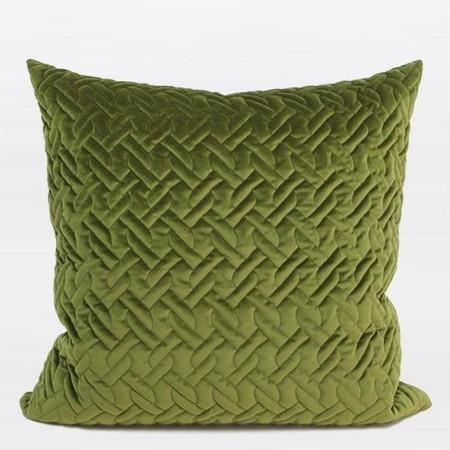 "Green Braid Textured Quilting Pillow 24""X24"" - Gentille Home Collection - 1"