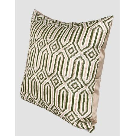 "Green Classical Geometry Pattern Embroidered Pillow 20""X20"""