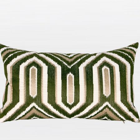 "Green Classical Geometry Pattern Embroidered Pillow 12""X20"" - Gentille Home Collection - 1"