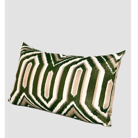 "Green Classical Geometry Pattern Embroidered Pillow 12""X20"" - G Home Collection"