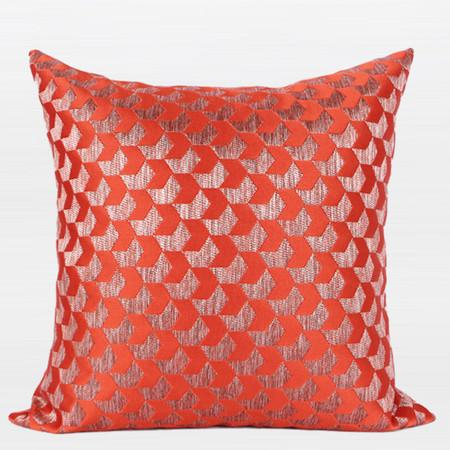 "Tangerine Arrows Pattern Jacquard Pillow 20""X20"" - Gentille Home Collection - 1"
