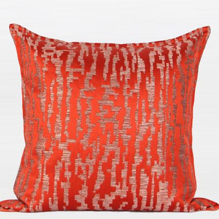 "Tangerine Nonobjective Pattern Jacquard Pillow 22""X22"" - Gentille Home Collection - 1"